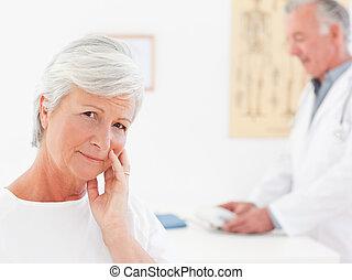 malade, patient, à, elle, docteur