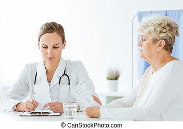 malade, pendant, inquiété, visite, docteur
