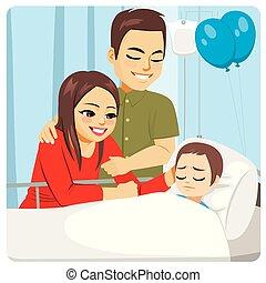 malade, visiter, parents, hôpital, fils