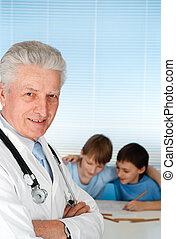 malades, heureux, caucasien, docteur