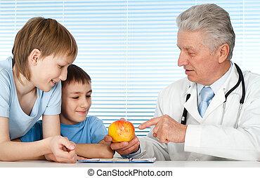 malades, heureux, gentil, caucasien, docteur
