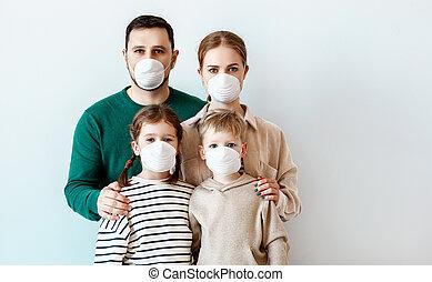 maladie, éruption, monde médical, famille, pendant, masques
