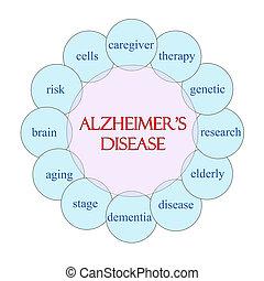 maladie alzheimer, circulaire, mot, concept