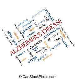 maladie alzheimer, mot, nuage, concept, incliné
