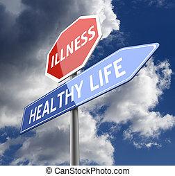 maladie, et, sain, vie, mots, sur, rouges, bleu, panneaux...