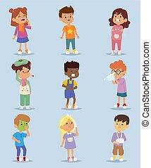 maladie, figure, pictogramme, triste, grippe, childcare, enfants, peu, set., gens, santé, malade, reposer, maladie, icons., crosse, caractères, gosses, grippe, maladie, problème, hôpital