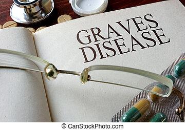 maladie, Livre, tombes, diagnostic