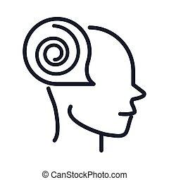 maladie, neurologique, ligne, fonction, alzheimers, style, perdre, cerveau, icône