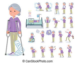 maladie, plat, type, grand-maman, vêtements de sport