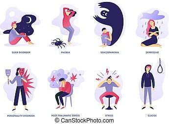 maladies, ensemble, mental, désordres, illness., paranoïa, psychiatrique, problem., vecteur, illustration, désordre, sentiment, panique, psychique