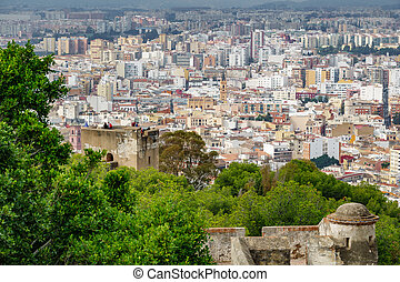 Malaga city from the castle with tourists