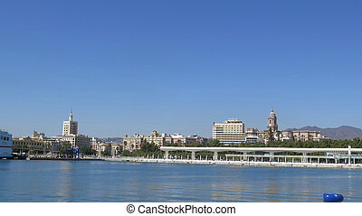 Panoramic view of Malaga harbour front and Pergola at Muelle Uno in the port of Malaga, Andalusia Spain