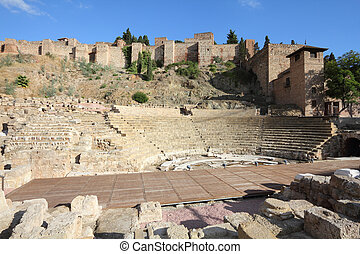 Malaga in Andalusia region of Spain. Famous ancient Roman amphitheatre ruins.