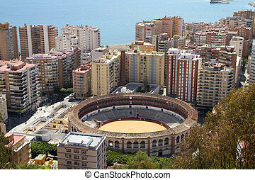 Malaga in Andalusia region of Spain. Famous bull ring stadium.