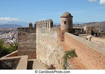 Malaga in Andalusia, Spain. Alcazaba castle on Gibralfaro mountain - old religious landmark.