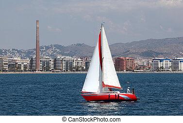 malaga, navigation yacht, devant, andalousie, espagne