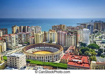 Malaga, Spain Cityscape at - Malaga, Spain cityscape at the...