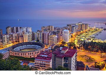 Malaga, Spain cityscape at the bullring.