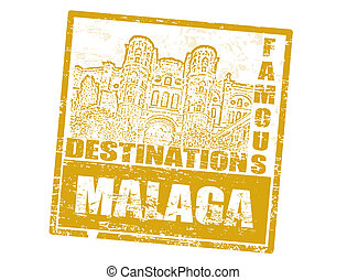 Malaga stamp - Grunge rubber stamp with Cathedral Malaga and...