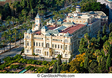 Overview of the Town hall of Malaga Spain with a baroque architecture, Costa Del Sol, Spain