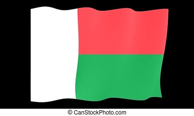 Malagasy flag . Waving