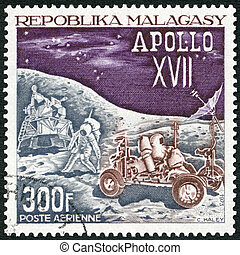 MALAGASY REPUBLIC -  1973: shows Landing Module, Astronauts and Lunar Rover, Apollo 17 moon mission, December 7-19, 1972