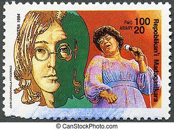 MALAGASY REPUBLIC - 1994: hows John Lennon, Ella Fitzgerald