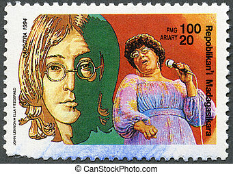 MALAGASY REPUBLIC - 1994: hows John Lennon, Ella Fitzgerald...