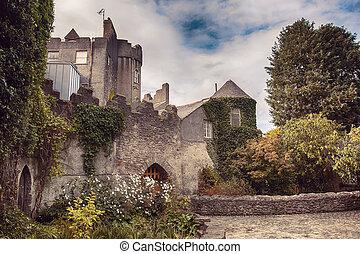 malahide, castillo, por, otoño