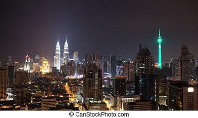 malaisie, lumpur, timelapse, kuala, nuit