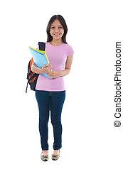 malaj, högskola, kvinnligt studerande, med, vit fond