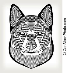 Malamute hound head, black and white drawing on gray background. Isolated symmetric head with hatching and patterns. For use as tattoo template, club emblem, cynology events