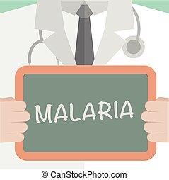 Malaria - minimalistic illustration of a doctor holding a...