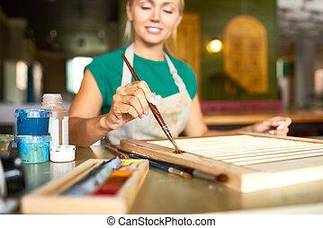 malarstwo, cieszący się, kobieta, studio, młody