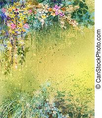malarstwo, liście, akwarela, żółty, biały, kwiaty, miękki, bluszcz, czerwony
