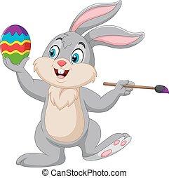 malarstwo, pisanka, królik, rysunek