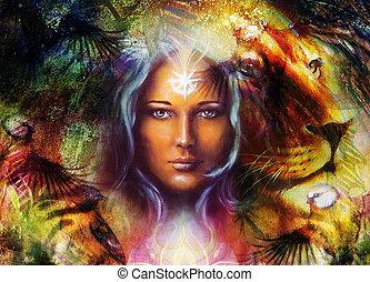 malarstwo, potężny, lew, i, tygrys formują główki, i, mistyczny, kobieta, z, dekoracyjny, capstrzyk, na, twarz, z, ptak, ozdoba, tło, i, mandala., komputer, collage, profil, portret, oko, contact.