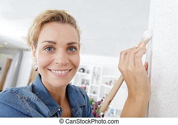 malarstwo, zatkać się, kobieta, ściana, prospekt