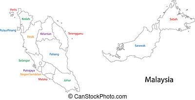 malasia, contorno, mapa
