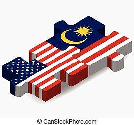 malasia, rompecabezas, banderas, estados unidos de américa