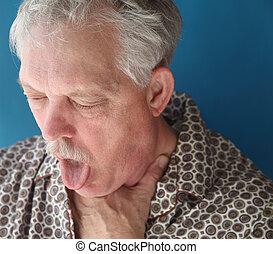 malato, uomo senior, tossire