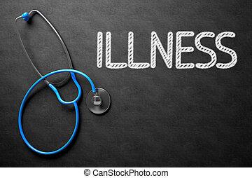 malattia, illustration., testo, -, chalkboard., 3d