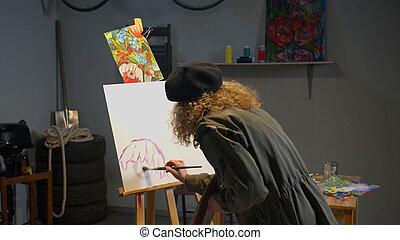 malatura, kobieta, obraz, studio