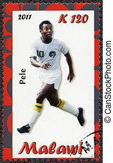 MALAWI - 2011: shows Pele - MALAWI - CIRCA 2011: A stamp...
