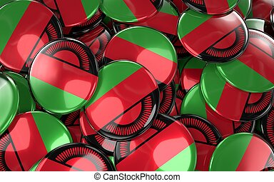 Malawi Badges Background - Pile of Malawian Flag Buttons. 3D...