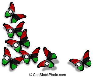 Malawi flag butterflies, isolated on white background