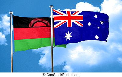 Malawi flag with Australia flag, 3D rendering