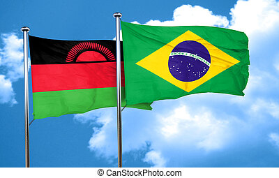 Malawi flag with Brazil flag, 3D rendering