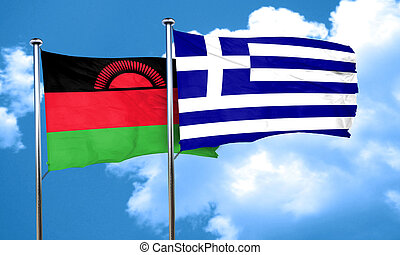 Malawi flag with Greece flag, 3D rendering