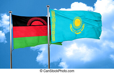 Malawi flag with Kazakhstan flag, 3D rendering